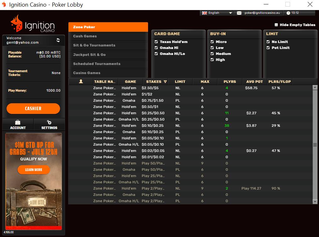 Ignition bitcoin casino poker lobby