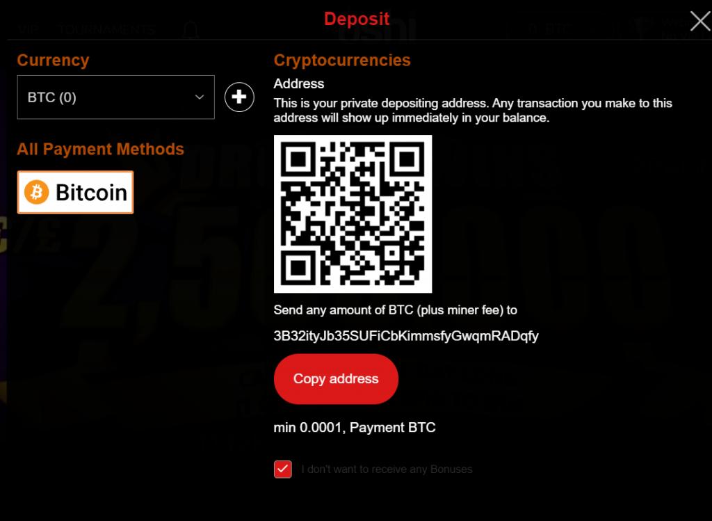 bitcoin qr code and deposit address oshi.io