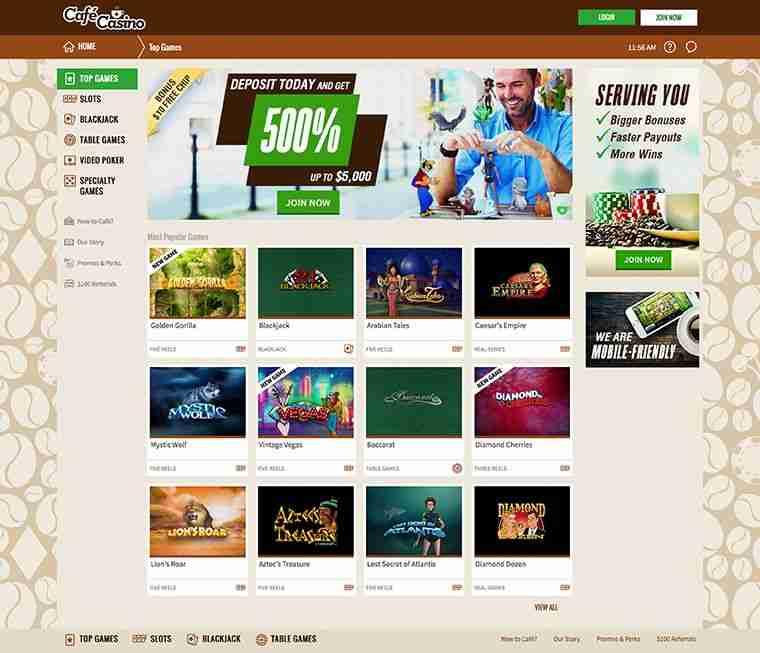 Cafe Casino homepage