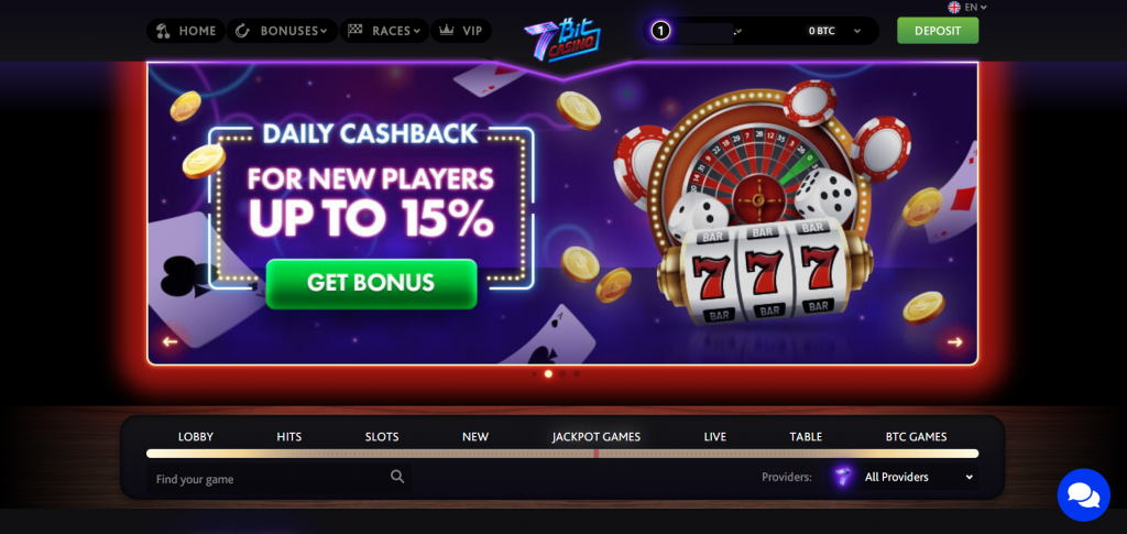 7bit casino website homepage