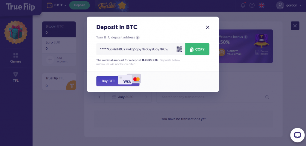 bitcoin deposit address from trueflip.io