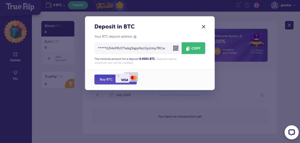 alamat setoran bitcoin dari trueflip.io