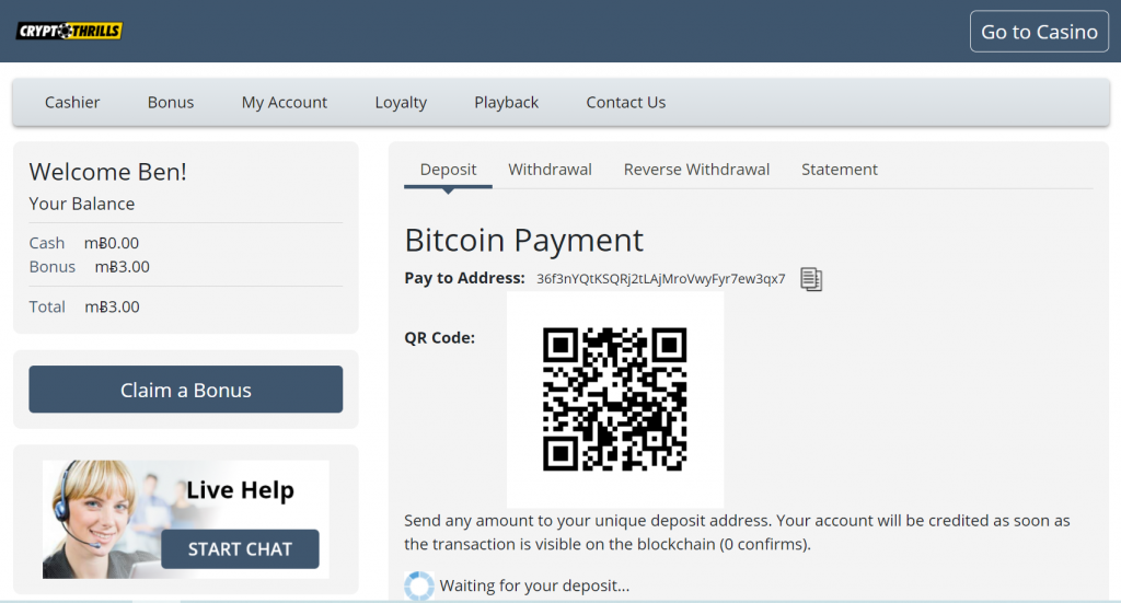 bitcoin deposit on Crypto Thrills casino