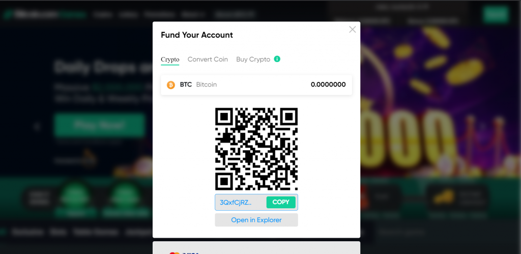 player account Bitcoin deposit address and Qr code on Games.bitcoin.com player account