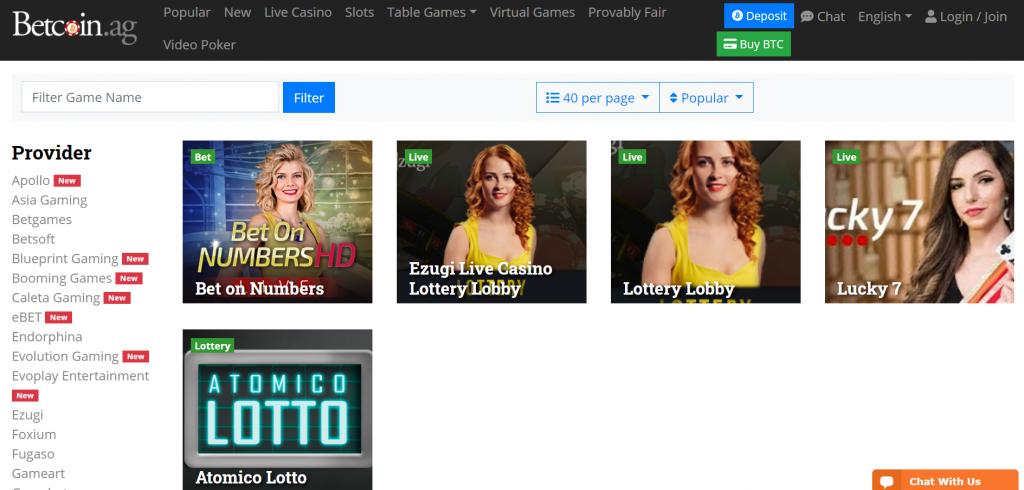 Betcoin.ag live bitcoin lotteries screenshot