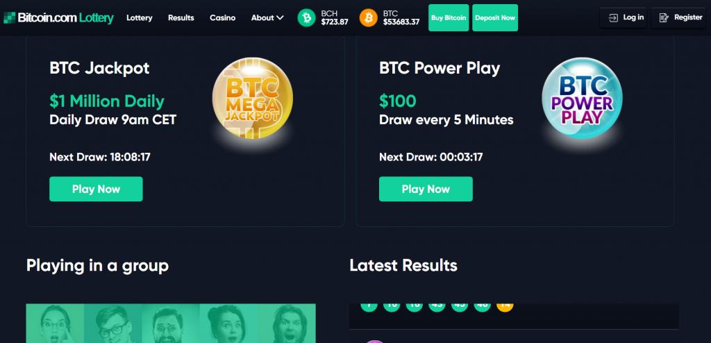 bitcoin.com bitcoin lotteries screenshot