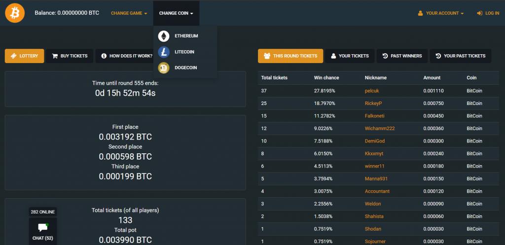crypto.games lottery screenshot