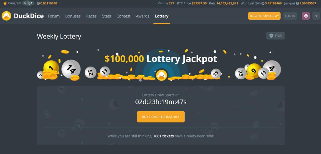 duckdice weekly lottery screenshot