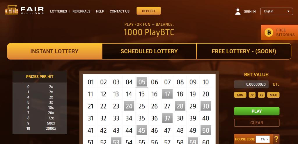 Fair Millions bitcoin lottery screenshot