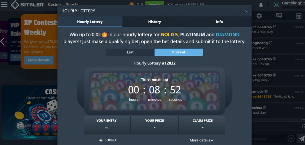 Bitsler free hourly lottery