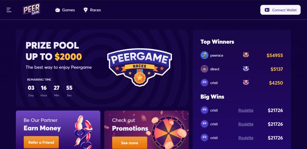 Peergame.com website homepage