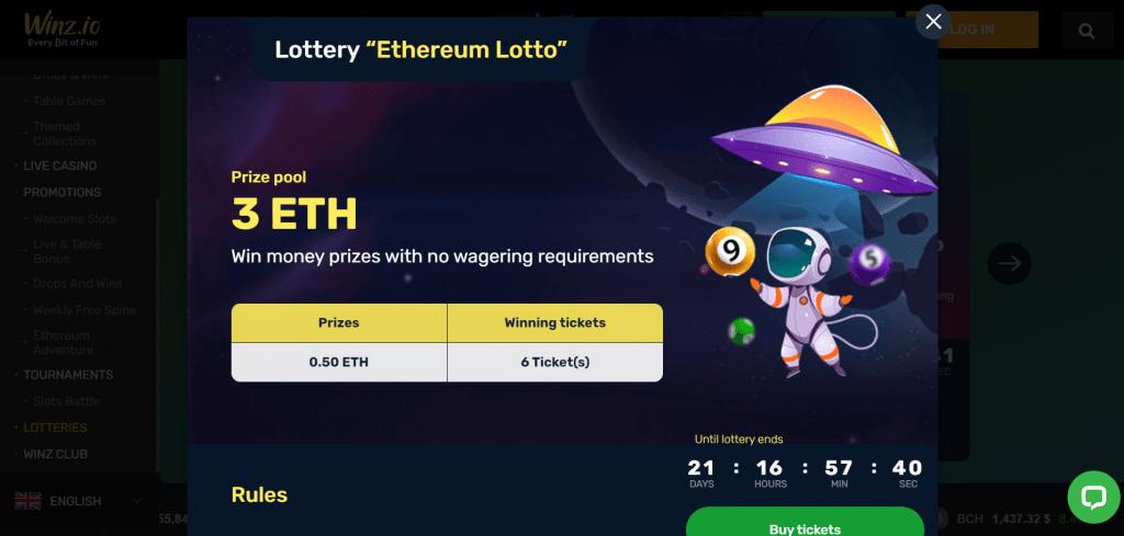 Winz.io ethereum lotto screenshot